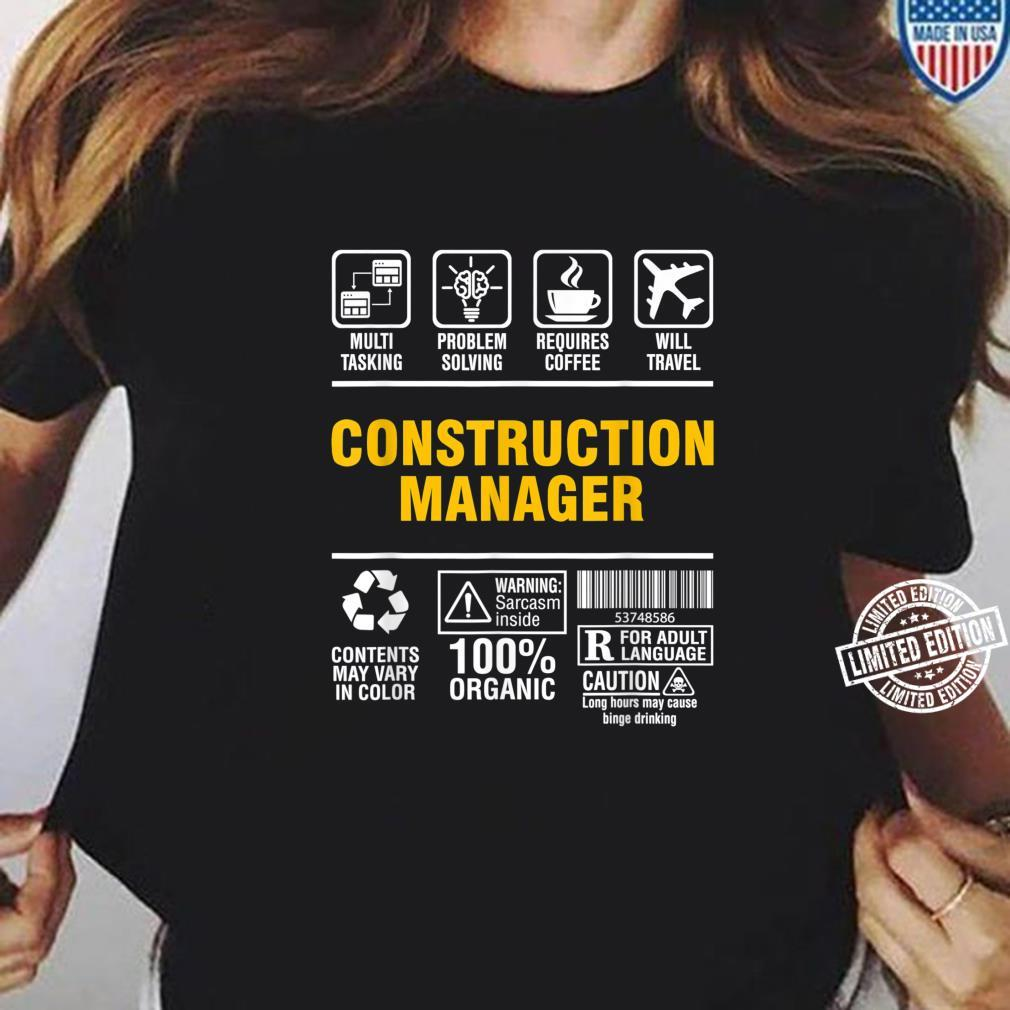 Construction Manager Multitasking Coffee and Travel Shirt ladies tee