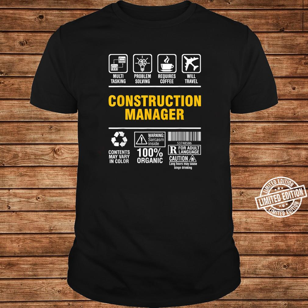 Construction Manager Multitasking Coffee and Travel Shirt long sleeved