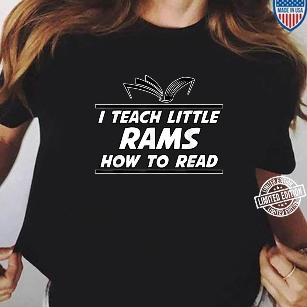 I Teach Little Rams School Spirit Reading Teacher Shirt ladies tee