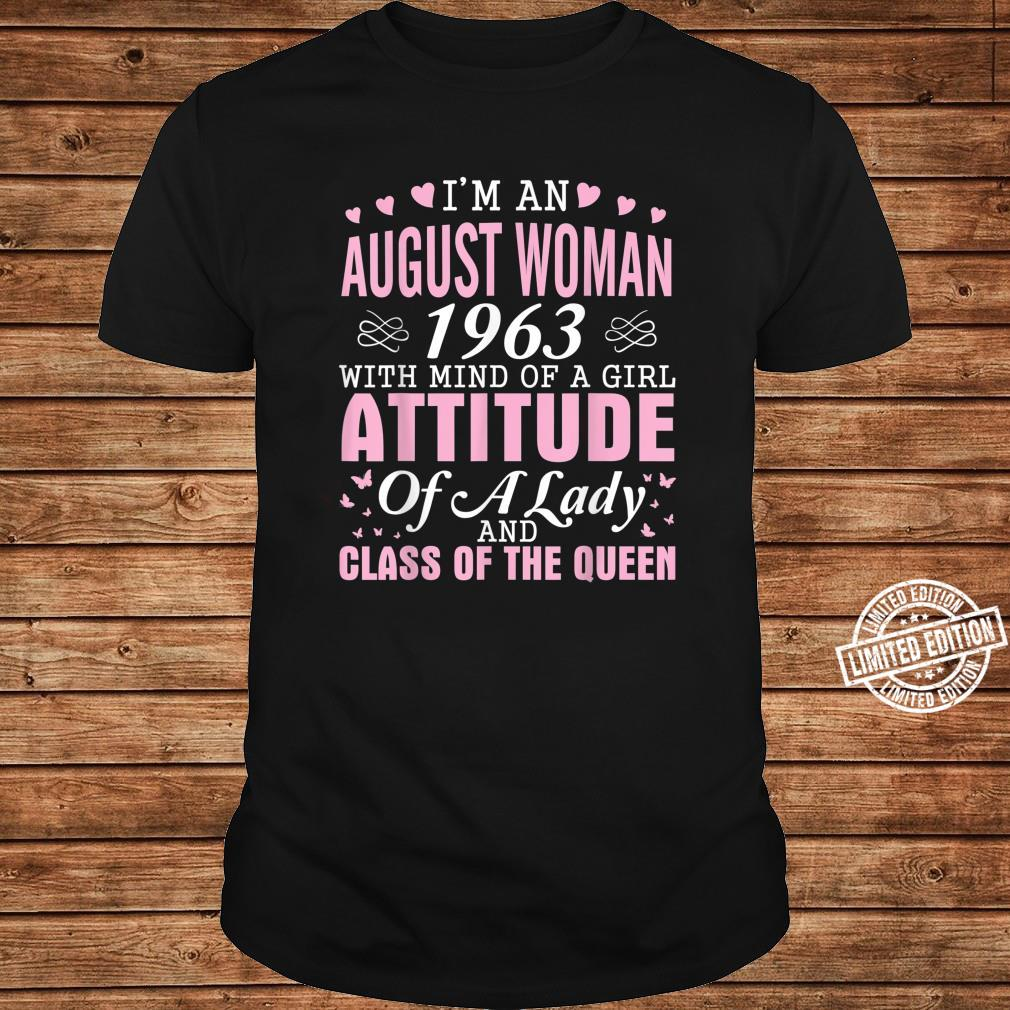 I'm An August 1963 Happy Birthday A Queen 57 Years Old Shirt long sleeved