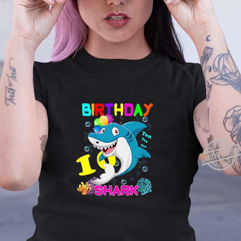 Kids Baby Shark 10 Years Old Ten Ten Ten10th Birthday Shirt