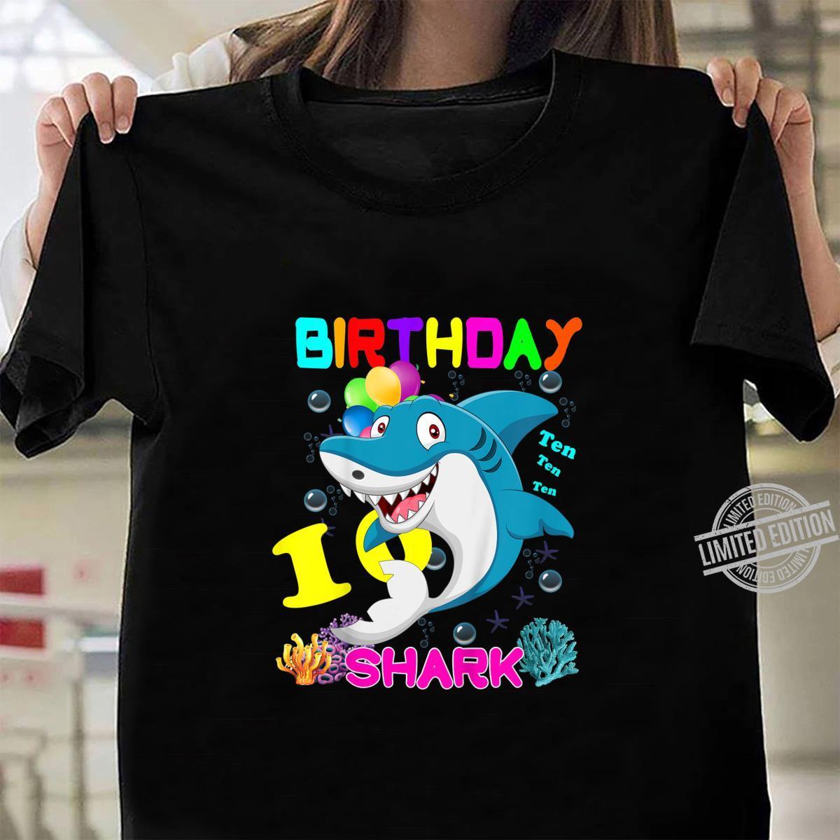 Kids Baby Shark 10 Years Old Ten Ten Ten10th Birthday Shirt ladies tee