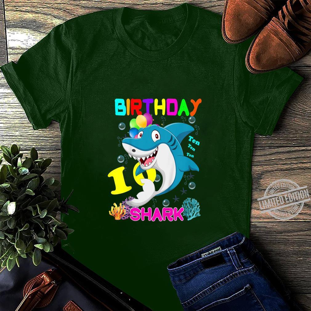 Kids Baby Shark 10 Years Old Ten Ten Ten10th Birthday Shirt long sleeved