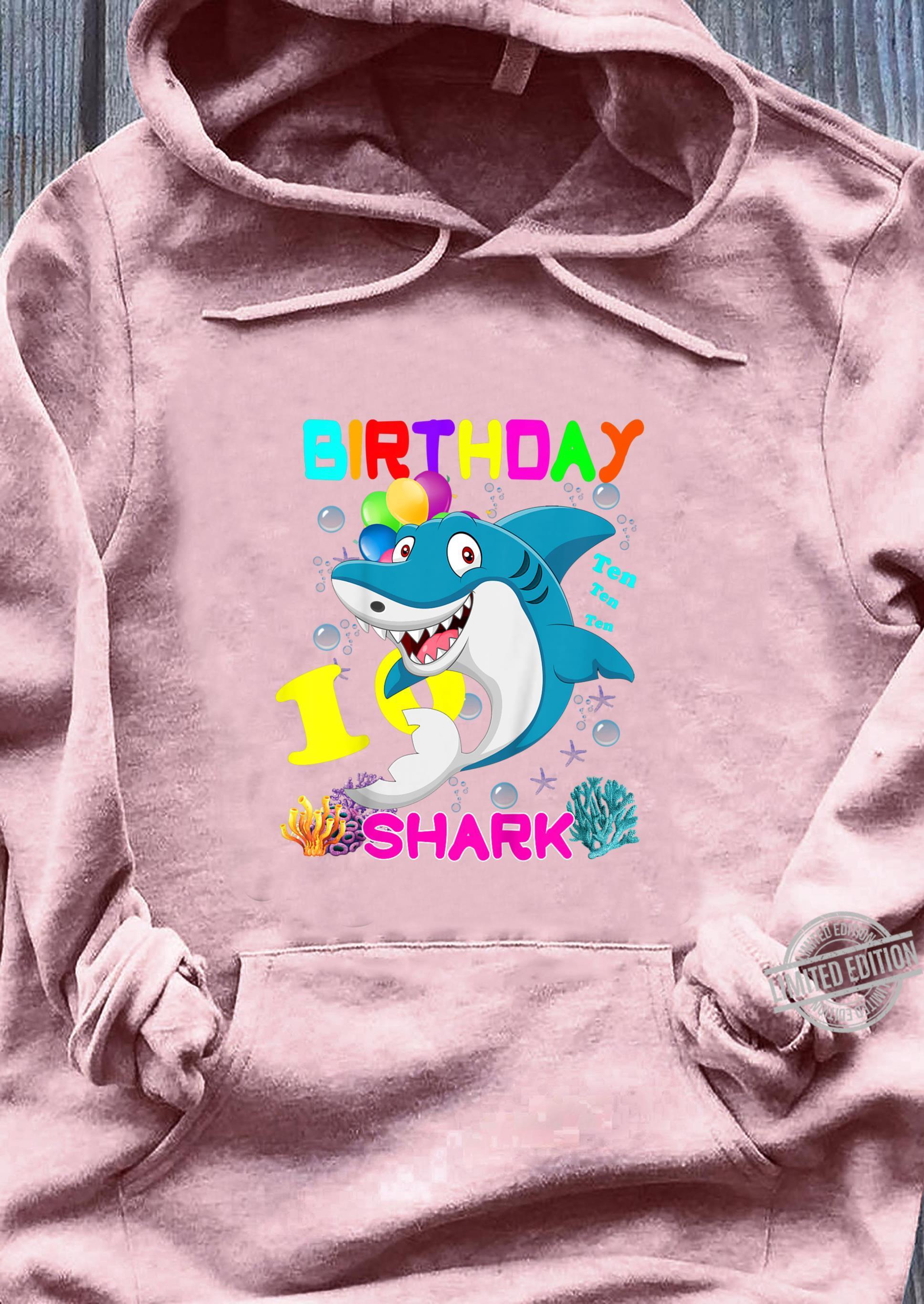 Kids Baby Shark 10 Years Old Ten Ten Ten10th Birthday Shirt sweater