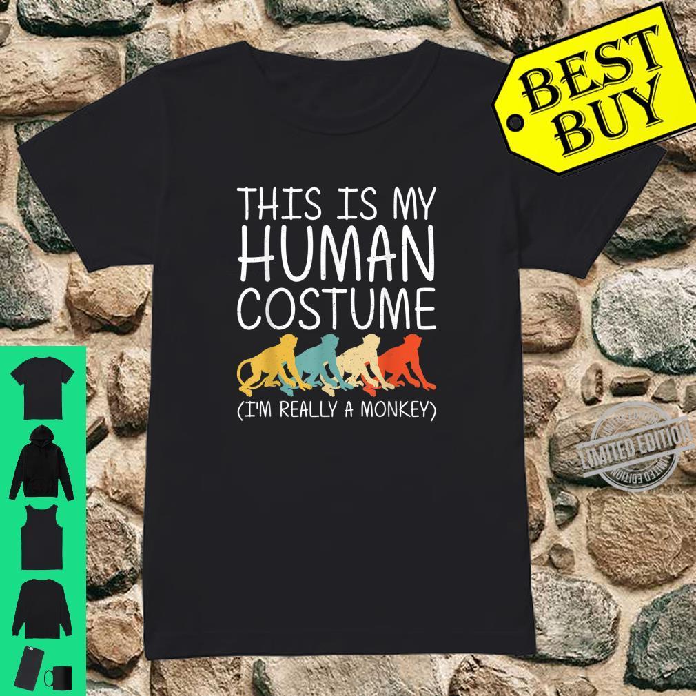 Monkey Halloween Human Costume Primate Baboon Easy DIY Shirt ladies tee