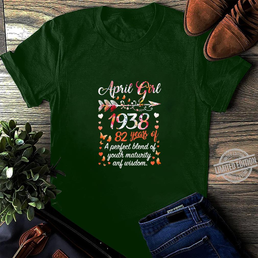 Womens April Girl 1938 82 Years Old 82nd Birthday Shirt long sleeved