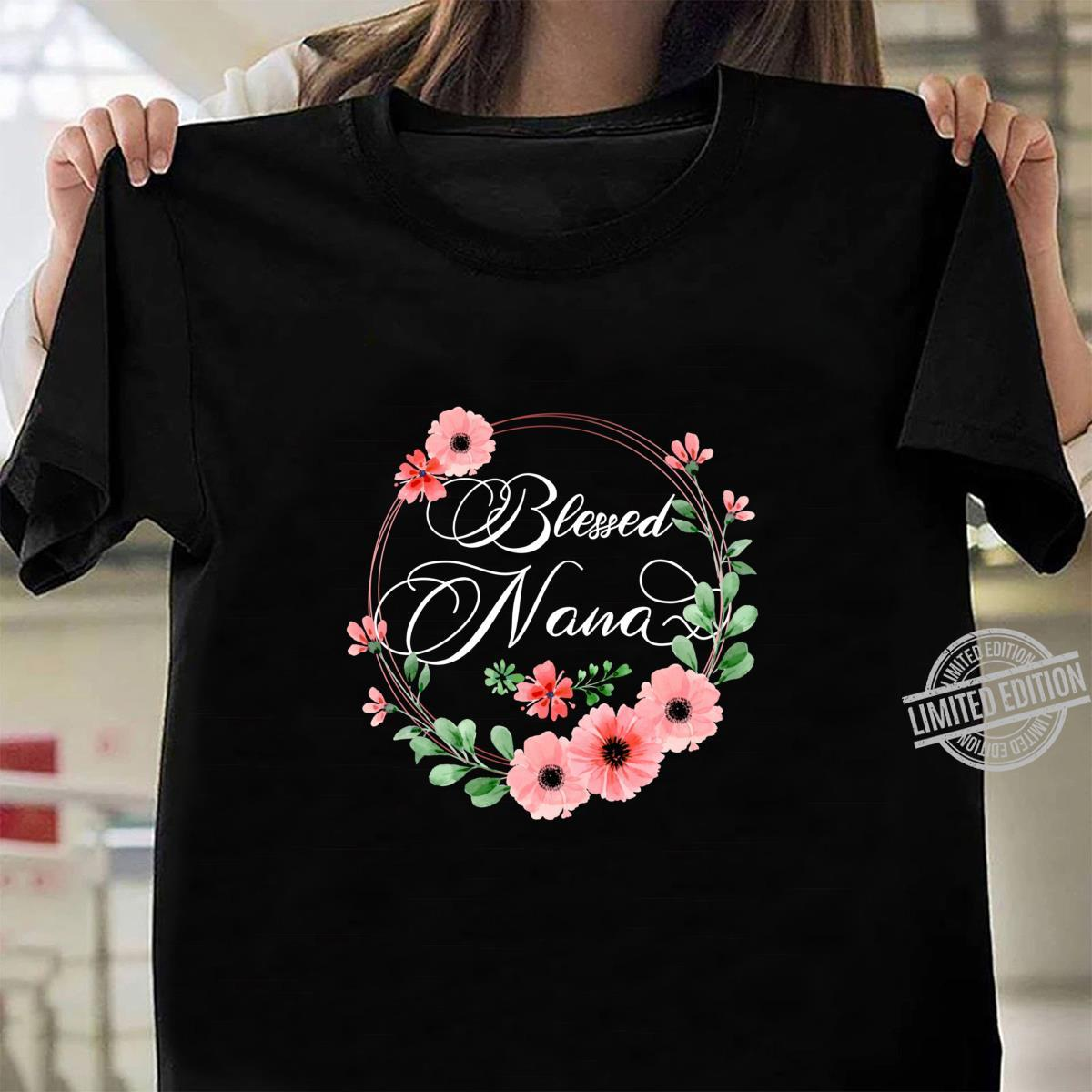Womens Blessed Nana Floral Grandma Mother's Day Shirt ladies tee