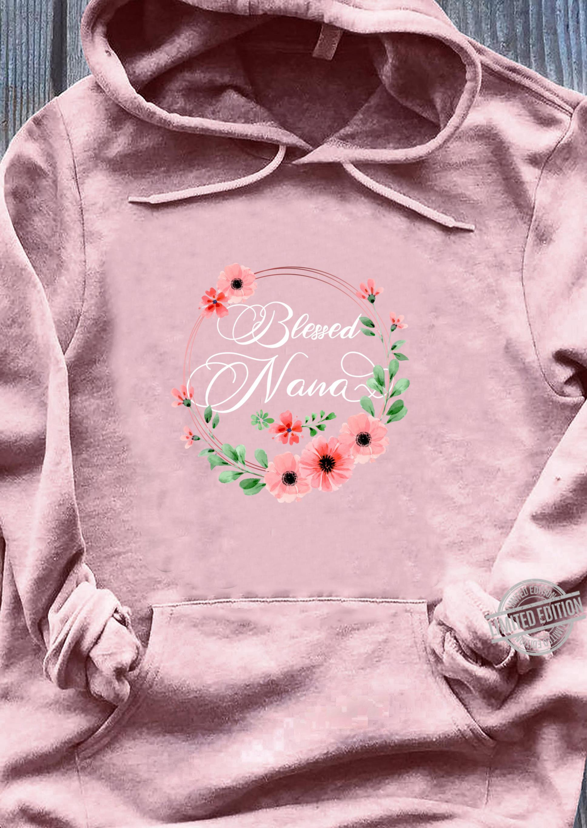 Womens Blessed Nana Floral Grandma Mother's Day Shirt sweater